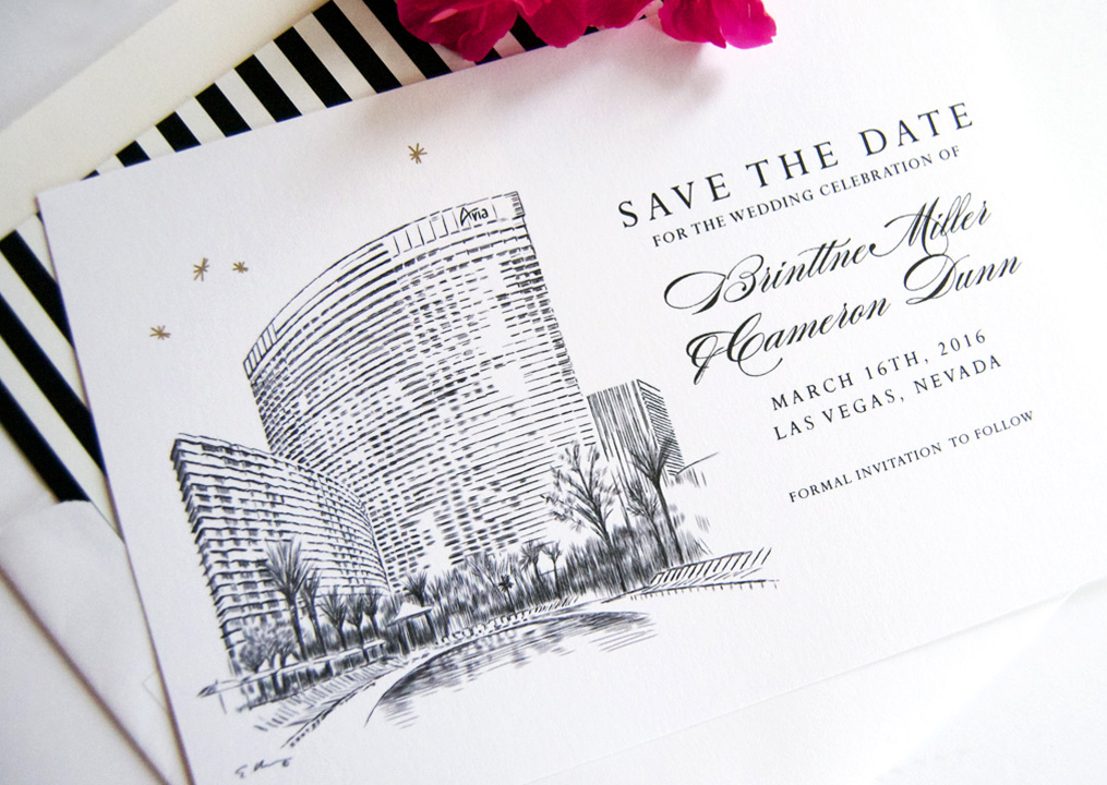 Aria Hotel, Las Vegas Save the Date Cards