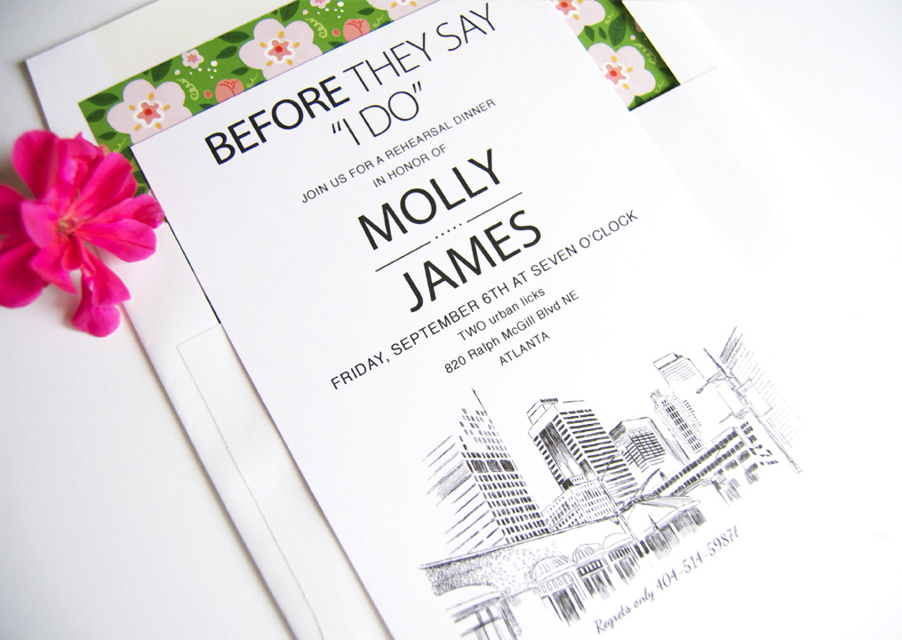 Atlanta Wedding Invitations: Atlanta Rehearsal Dinner Invitations