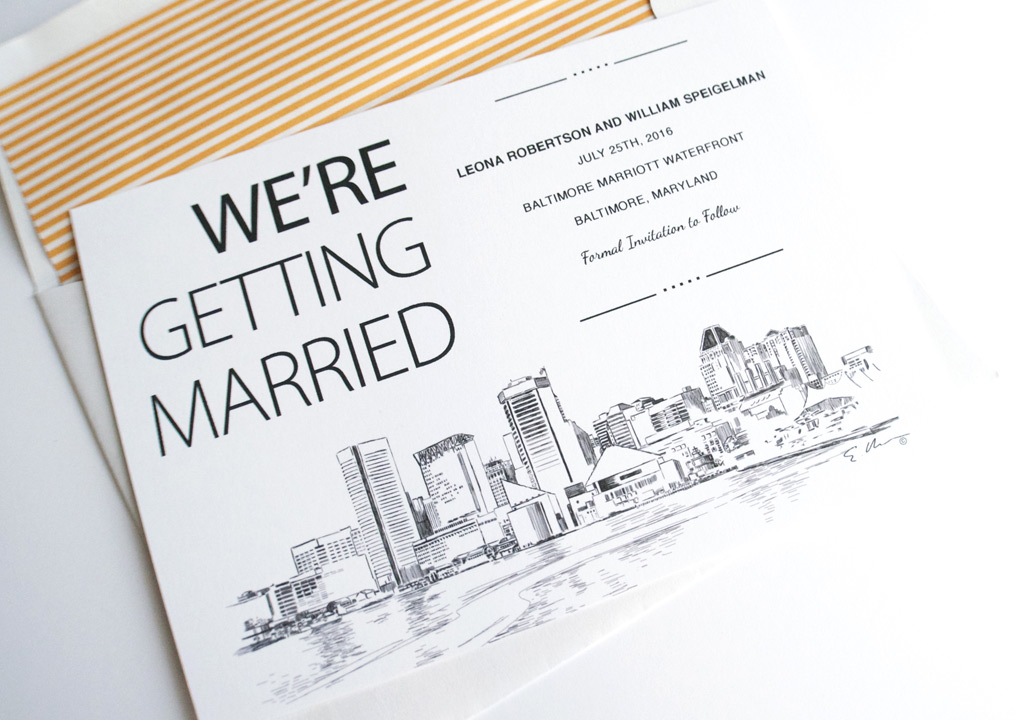 Baltimore Skyline Hand Drawn Save The Date Cards