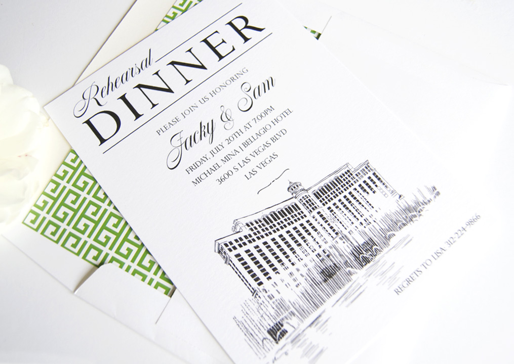 Las Vegas Skyline Rehearsal Dinner invitations customizable for any occasion; includes envelopes and return address printing SET OF 25