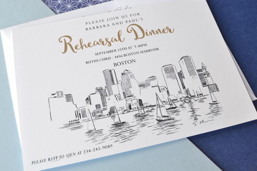 Boston Skyline Rehearsal Dinner Invitations