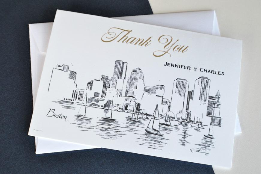 Boston Skyline Wedding Thank you Cards – Personalized Thank You Wedding Cards