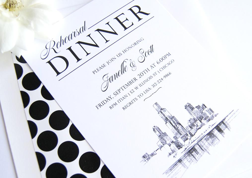 chicago rehearsal dinner invitations