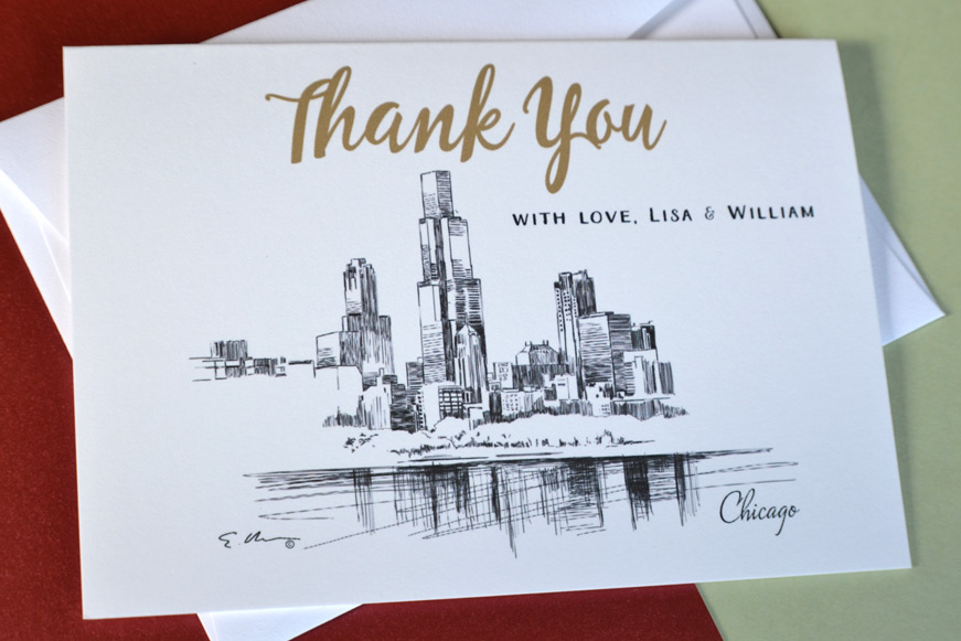 Chicago Skyline Wedding Thank you Cards