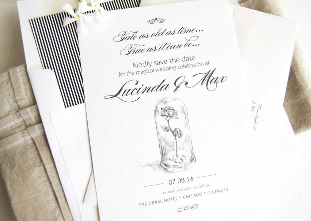 Beautiful Disney Themed Wedding Invitations Ideas Styles Ideas - Wedding invitation templates: beauty and the beast wedding invitation template free
