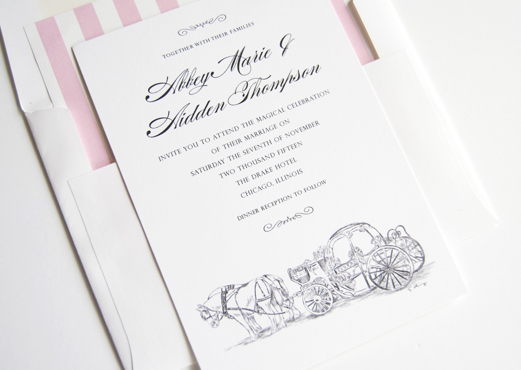 Disney Cinderellas Carriage Fairytale Wedding Invitations