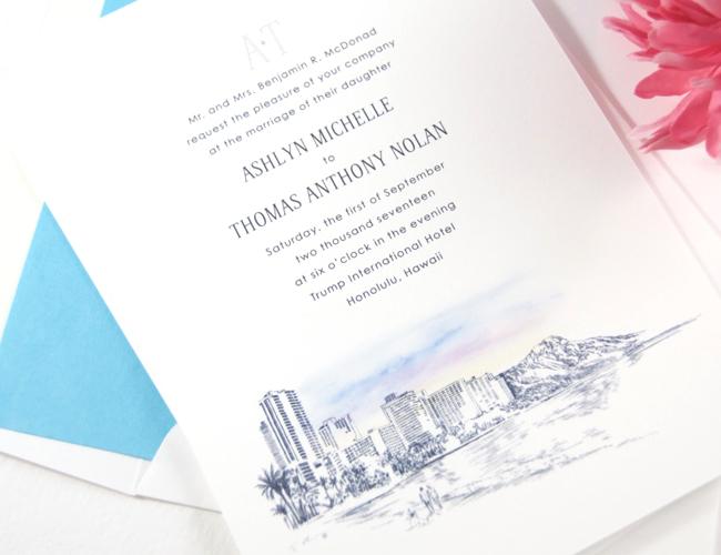 hawaii skyline destination wedding invitations With wedding invitations honolulu hawaii