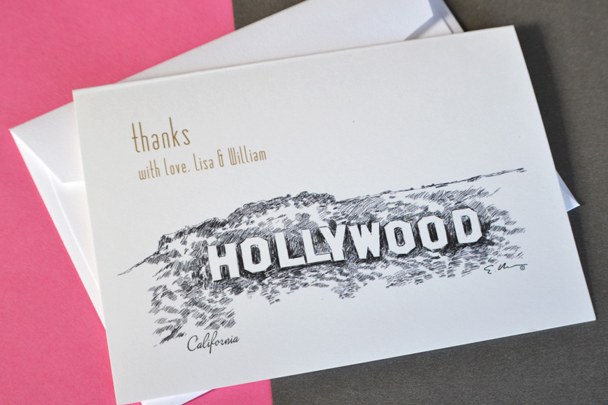 Hollywood Sign Wedding Thank you Cards – Personalized Thank You Wedding Cards