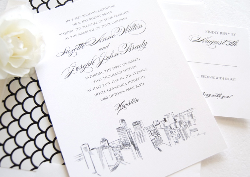 Houston Skyline Wedding Invitations