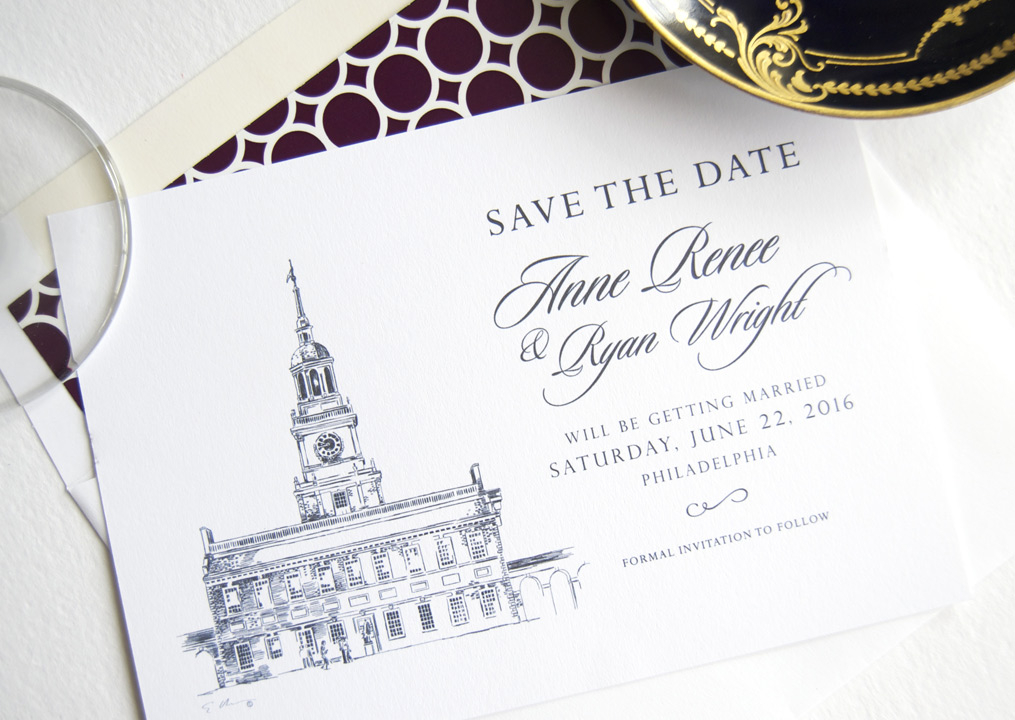 Independence Hall Philadelphia Skyline Save the Date Cards – Wedding Save the Date Card