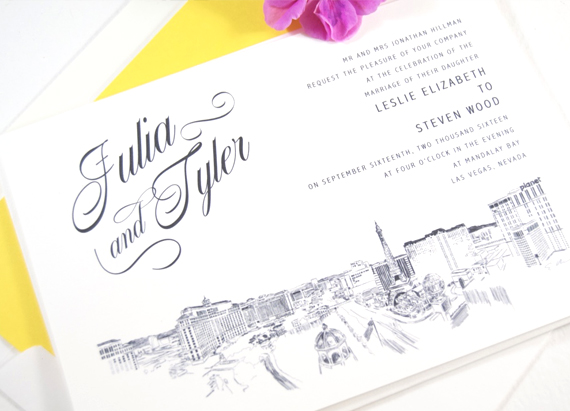 Vegas Skyline Wedding Invitations