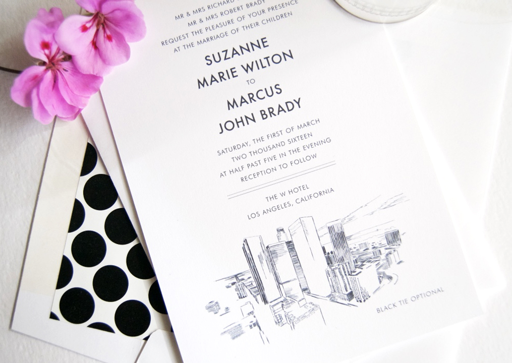 Our in-house artist has captured the beauty of the Los Angeles Skyline in our gorgeous wedding invitations