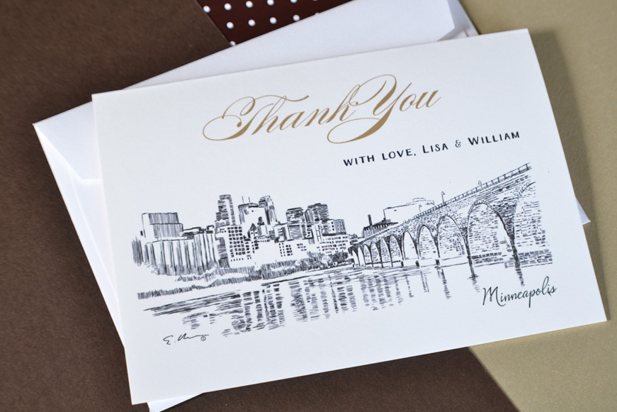 Minneapolis Skyline Wedding Card Thank You CardsMinneapolis Wedding Thank you Cards. Personalized Wedding Cards. Home Design Ideas
