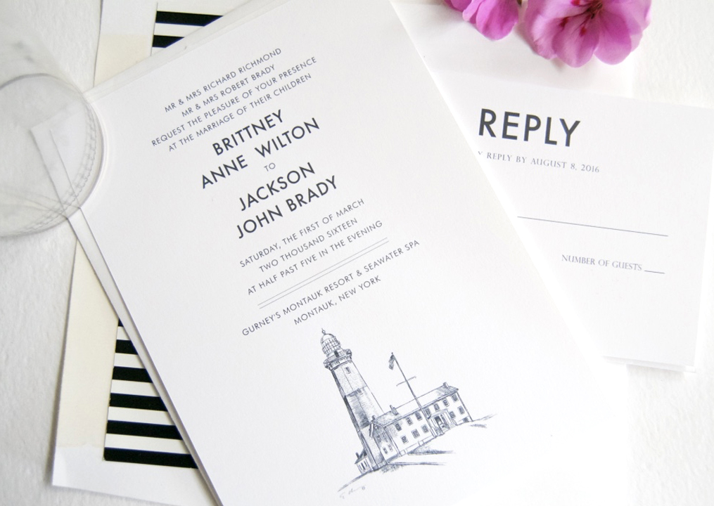 Montauk Lighthouse Skyline Wedding Invitations