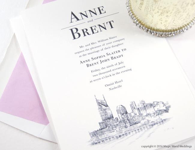 Nashville water view skyline wedding invitations stopboris Gallery