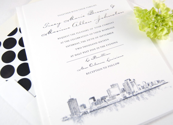Wedding Invitations New Orleans: New Orleans Skyline Wedding Invitations