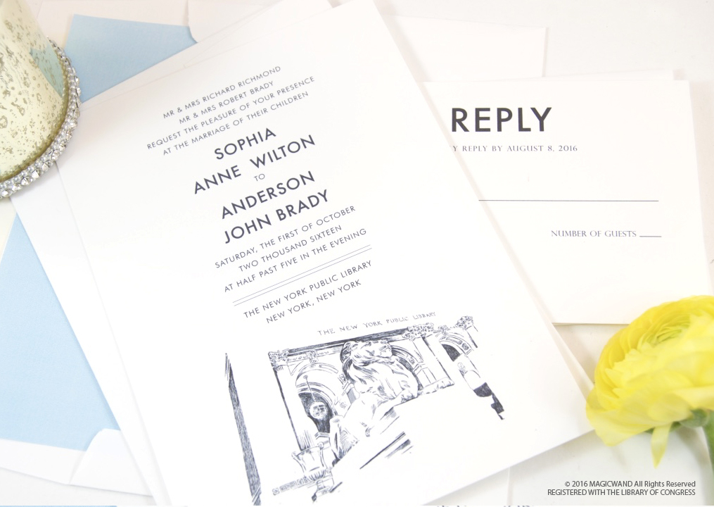 New York City Library Wedding Invitations