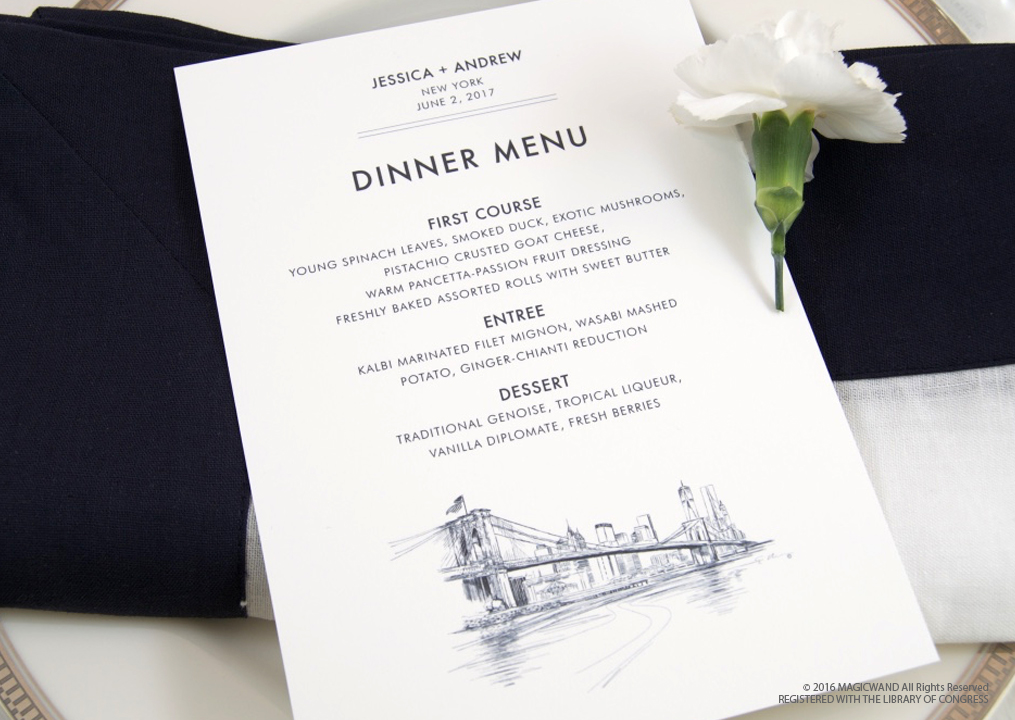menu cards for dinner party