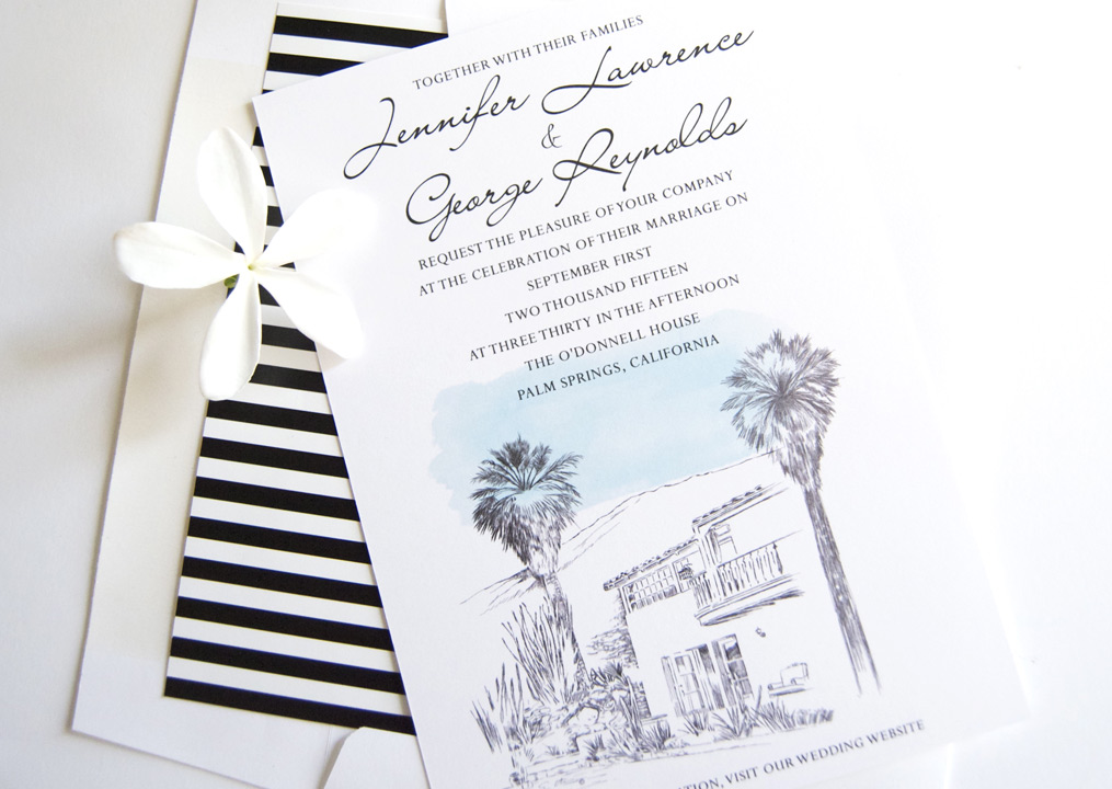 O Donnell House Palm Springs Wedding Invitations