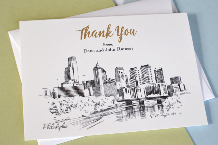 Philadelphia Skyline Wedding Thank you Cards