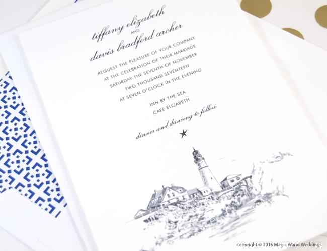 Portland Head Light House Wedding Invitations