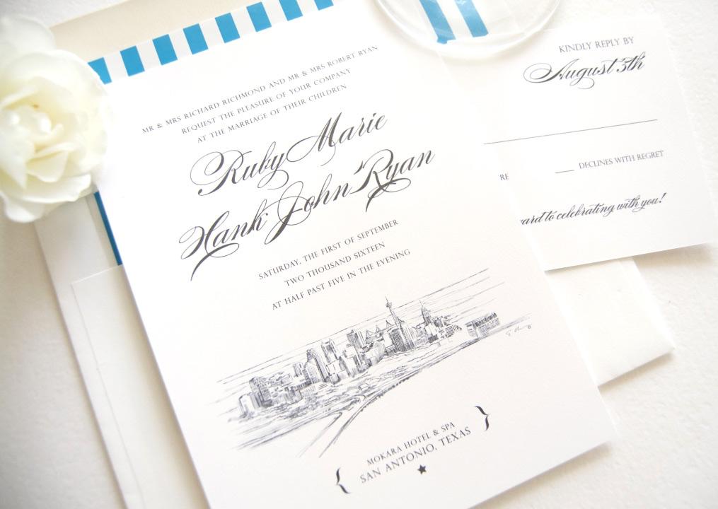 san antonio skyline wedding invitations
