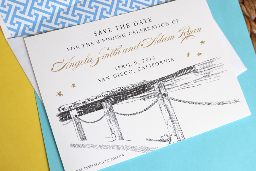 chicago skyline hand drawn save the date cards