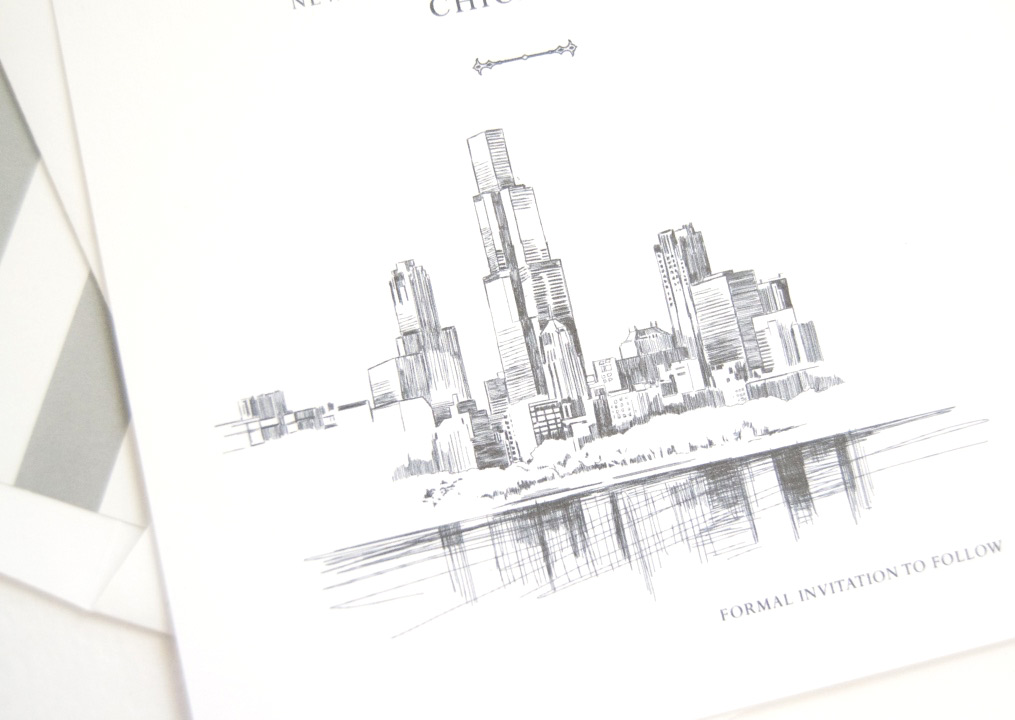 chicago skyline with flowers skyline hand drawn save the date cards