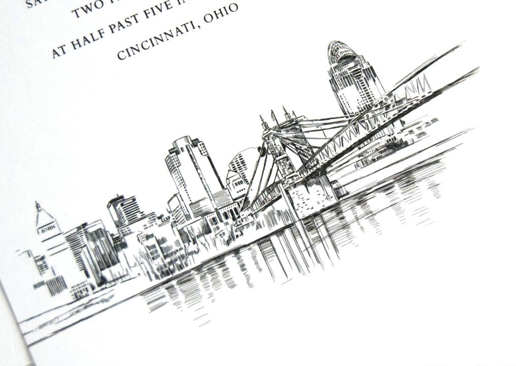 Cincinnati Skyline Wedding Invitations