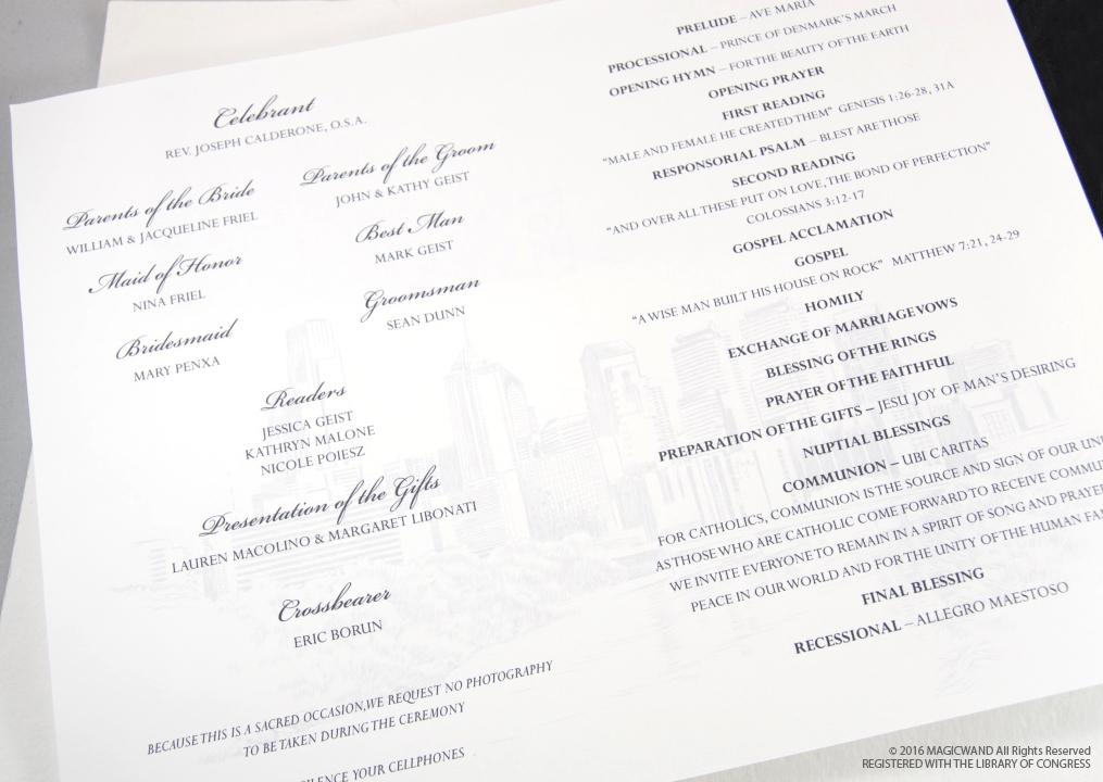 Cincinnati Skyline Wedding Programs