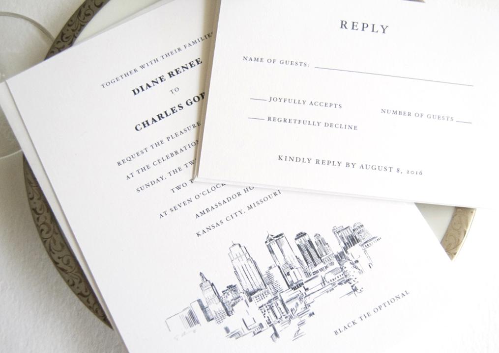 Kansas City Skyline Wedding Invitations
