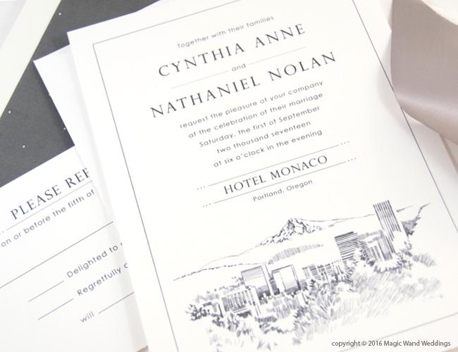 Portland Skyline Wedding Invitations