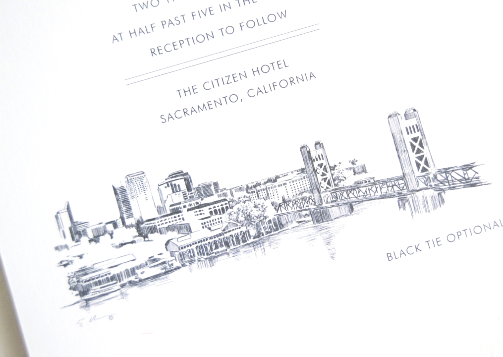 Sacramento Skyline Wedding Invitations