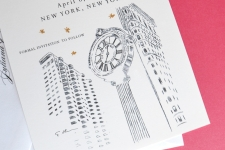 New York Skyline Save the Date Cards, 5th Ave Clock