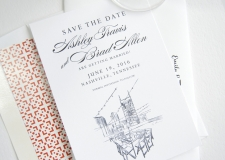 Aerial Rooftop, Nashville Skyline Save the Date Cards