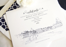 Boardwalk Resort Disney Skyline Rehearsal Dinner Invitations
