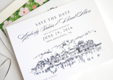 Boathouse Row, Philadelphia Skyline Save the Date Cards