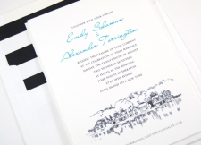 Philadelphia Boathouse Row Skyline Wedding Invitations