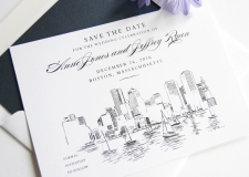 Boston Skyline Save the Date Cards