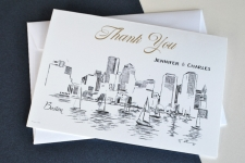 Boston Skyline Wedding Card Thank You Cards