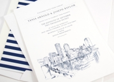 Boston Water View Skyline Wedding Invitations