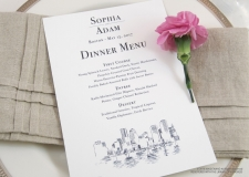 boston skyline menu cards
