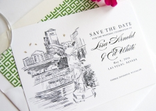 Caesars Palace Las Vegas Skyline Save the Date Cards
