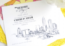 Charlotte Skyline Rehearsal Dinner Invitations