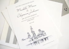 Chicago Skyline with Flowers Skyline Save the Date Cards