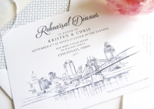 Cincinnati Skyline Rehearsal Dinner Invitations