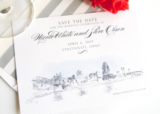 Cincinnati Stadium View Skyine Champagne Toast Skyline Save the Date Cards