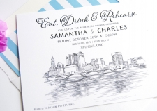 Columbus Skyline Rehearsal Dinner Invitations