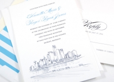 Detroit Skyline Wedding Invitations