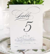 Detroit Skyline Table Numbers